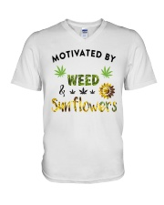 Motivated By Weed And Sunflowers V-Neck T-Shirt thumbnail