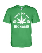 Kiss Me I'm Highrish V-Neck T-Shirt thumbnail