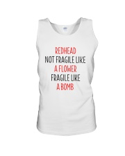 Redhead Girl Not Fraglile Like A Flower Unisex Tank thumbnail