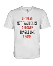 Redhead Girl Not Fraglile Like A Flower V-Neck T-Shirt thumbnail