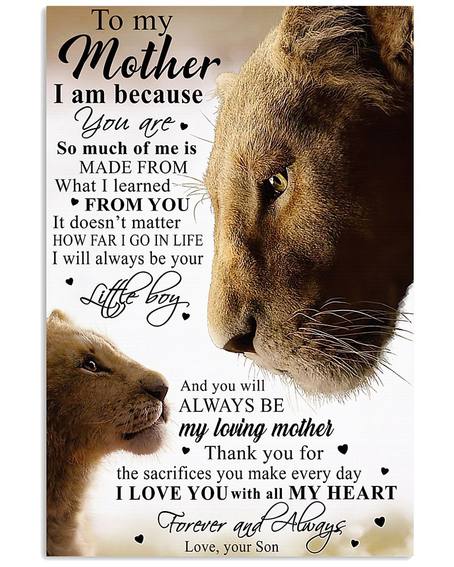 To My Mother Little Boy Son Lion Poster 11x17 Poster