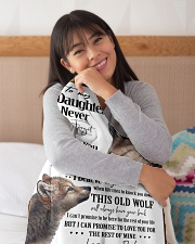 """To My Daughter Dad Wolf Small Fleece Blanket - 30"""" x 40"""" aos-coral-fleece-blanket-30x40-lifestyle-detail-front-13"""