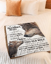 """To My Daughter Dad Wolf Small Fleece Blanket - 30"""" x 40"""" aos-coral-fleece-blanket-30x40-lifestyle-front-01"""