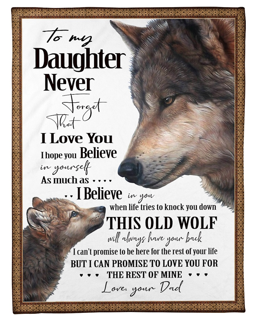 """To My Daughter Dad Wolf Small Fleece Blanket - 30"""" x 40"""""""
