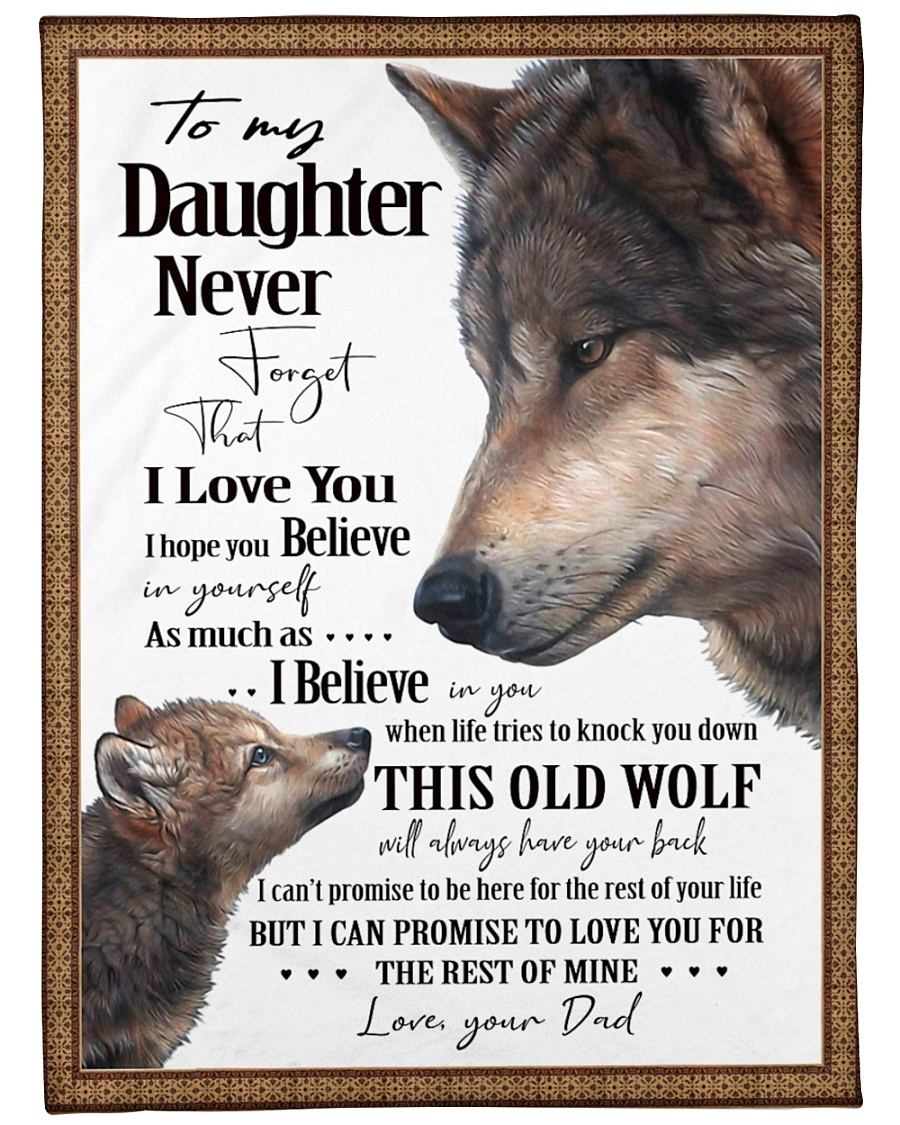 "To My Daughter Dad Wolf Large Fleece Blanket - 60"" x 80"""