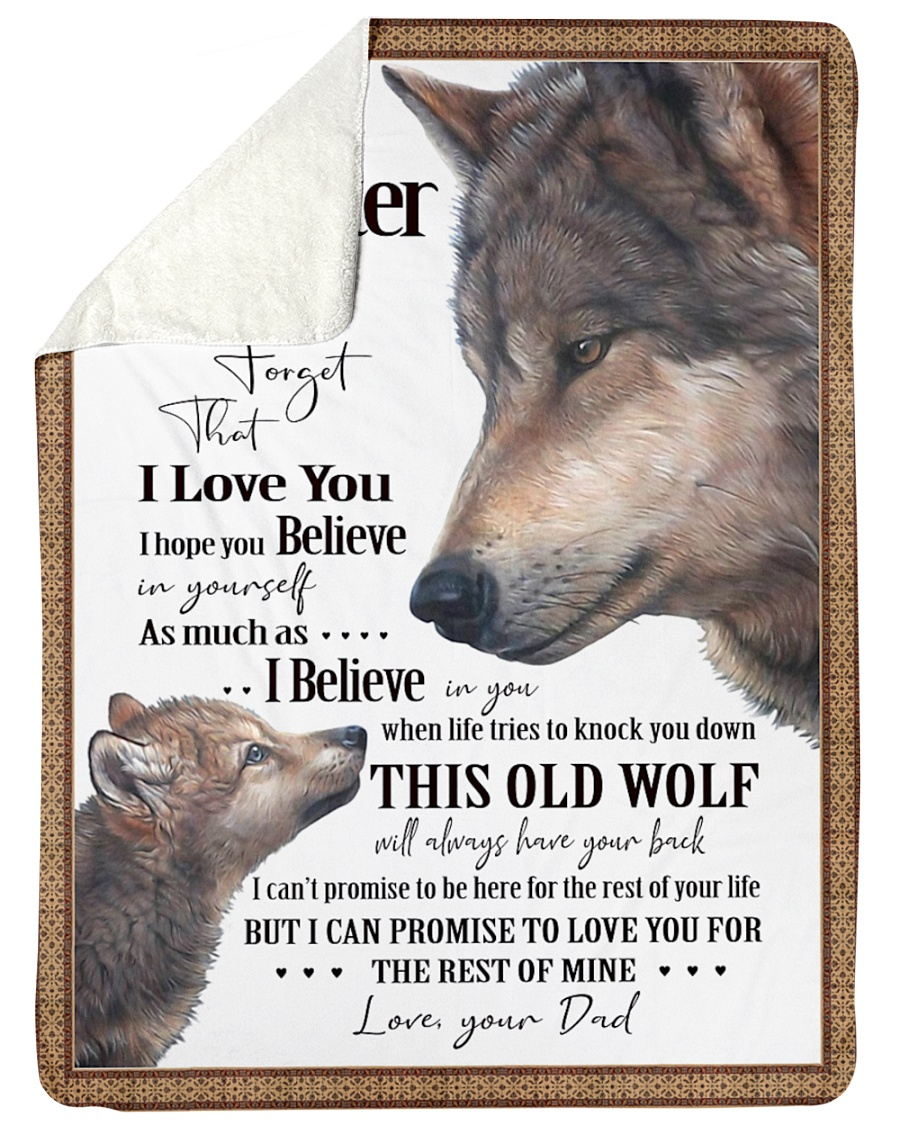 """To My Daughter Dad Wolf Large Sherpa Fleece Blanket - 60"""" x 80"""""""