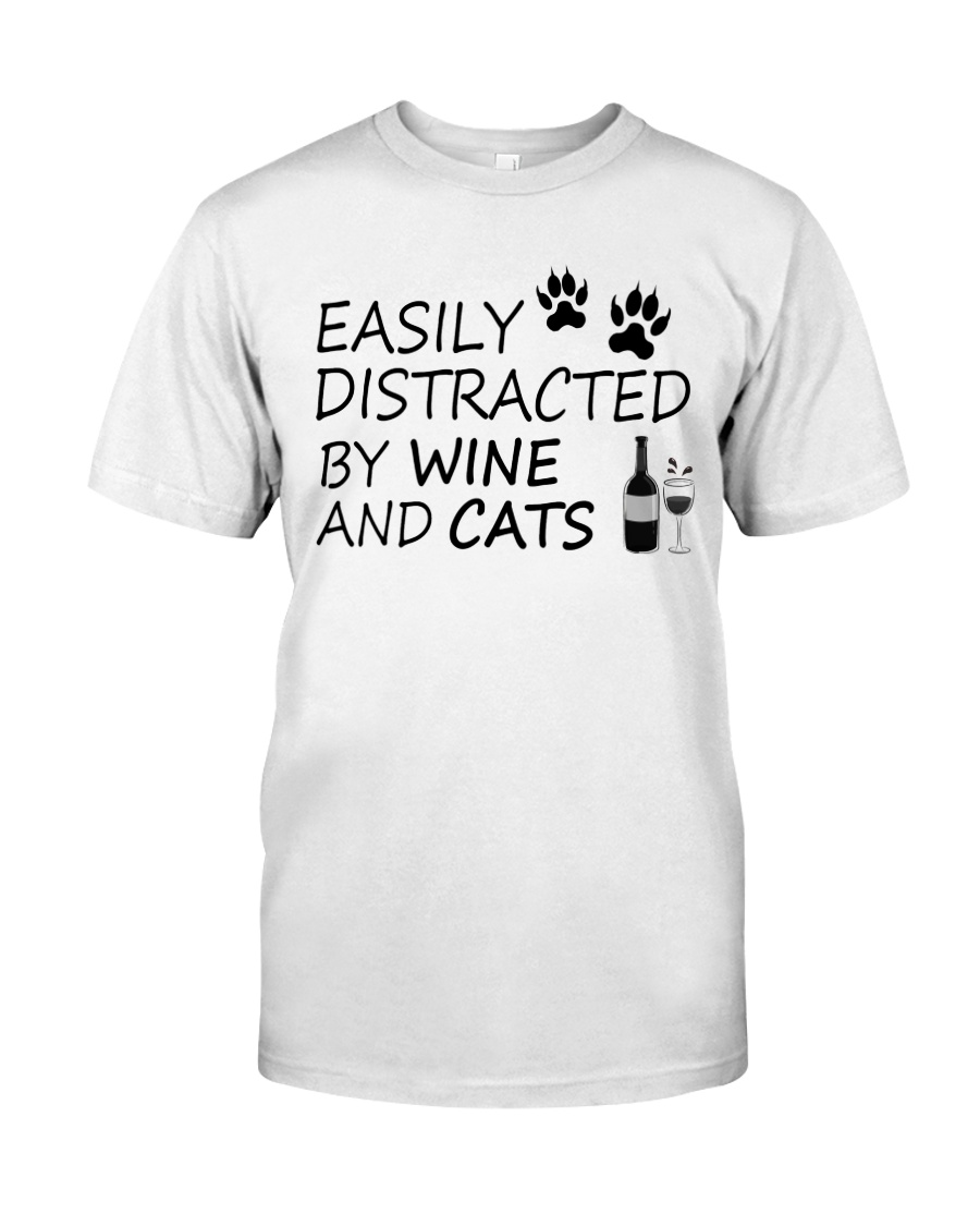 Easily Distracted By Wine And Cats Classic T-Shirt