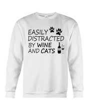 Easily Distracted By Wine And Cats Crewneck Sweatshirt thumbnail