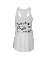 Easily Distracted By Wine And Cats Ladies Flowy Tank thumbnail