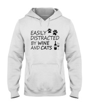 Easily Distracted By Wine And Cats Hooded Sweatshirt thumbnail