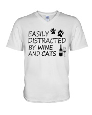 Easily Distracted By Wine And Cats V-Neck T-Shirt thumbnail