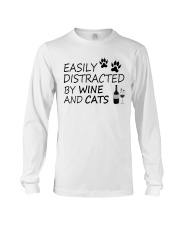 Easily Distracted By Wine And Cats Long Sleeve Tee thumbnail