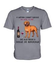 Wine and Dogue De Bordeaux 2 V-Neck T-Shirt thumbnail