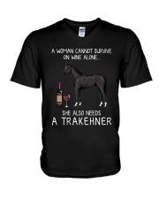 Wine and Trakehner V-Neck T-Shirt thumbnail