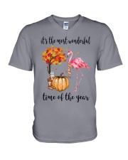 The Most Wonderful Time - Flamingo V-Neck T-Shirt thumbnail