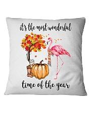 The Most Wonderful Time - Flamingo Square Pillowcase thumbnail