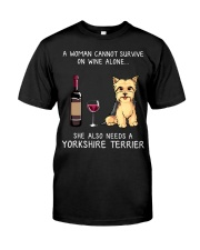 Wine and Yorkie Classic T-Shirt front