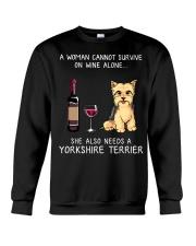 Wine and Yorkie Crewneck Sweatshirt thumbnail