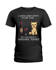 Wine and Yorkie Ladies T-Shirt thumbnail