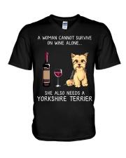 Wine and Yorkie V-Neck T-Shirt thumbnail
