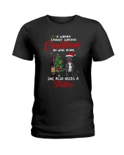 Christmas - Wine and Staffie Ladies T-Shirt thumbnail