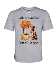 The Most Wonderful Time - Chocolate Labrador V-Neck T-Shirt thumbnail