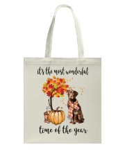 The Most Wonderful Time - Chocolate Labrador Tote Bag thumbnail