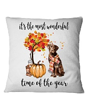 The Most Wonderful Time - Chocolate Labrador Square Pillowcase thumbnail
