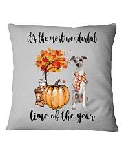 The Most Wonderful Time - Whippet Square Pillowcase thumbnail