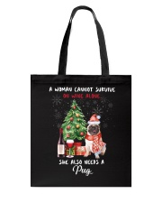 Christmas Wine and Pug Tote Bag thumbnail