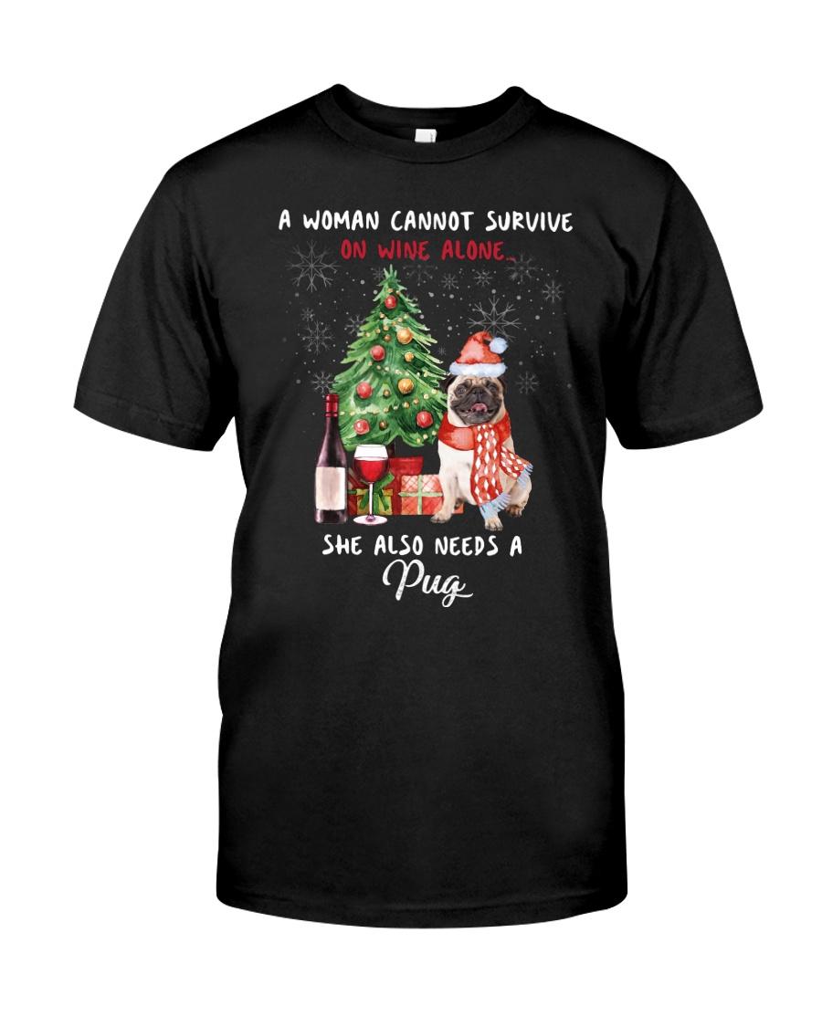 Christmas Wine and Pug Classic T-Shirt