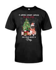 Christmas Wine and Pug Classic T-Shirt front