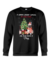 Christmas Wine and Pug Crewneck Sweatshirt tile