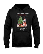 Christmas Wine and Pug Hooded Sweatshirt thumbnail