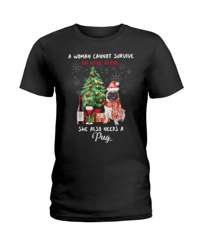 Christmas Wine and Pug