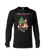 Christmas Wine and Pug Long Sleeve Tee thumbnail