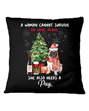 Christmas Wine and Pug Square Pillowcase thumbnail