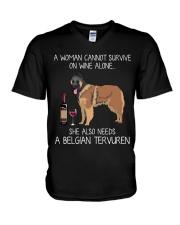 Wine and Belgian Tervuren V-Neck T-Shirt thumbnail