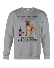 Wine and Bullmastiff 2 Crewneck Sweatshirt tile