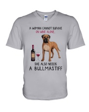 Wine and Bullmastiff 2 V-Neck T-Shirt tile