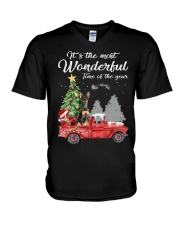 Wonderful Christmas with Truck - Min Pin V-Neck T-Shirt thumbnail
