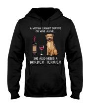 Wine and Border Terrier Hooded Sweatshirt thumbnail