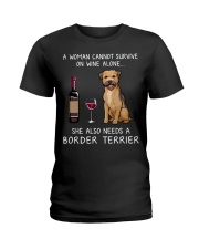 Wine and Border Terrier Ladies T-Shirt thumbnail