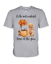 The Most Wonderful Time - Poodle V-Neck T-Shirt thumbnail