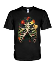 Skeleton Black Cats V-Neck T-Shirt thumbnail