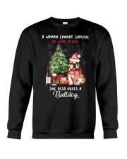 Christmas Wine and Bulldog Crewneck Sweatshirt thumbnail
