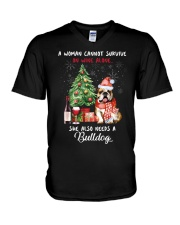 Christmas Wine and Bulldog V-Neck T-Shirt thumbnail