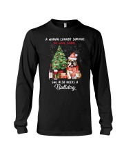 Christmas Wine and Bulldog Long Sleeve Tee thumbnail