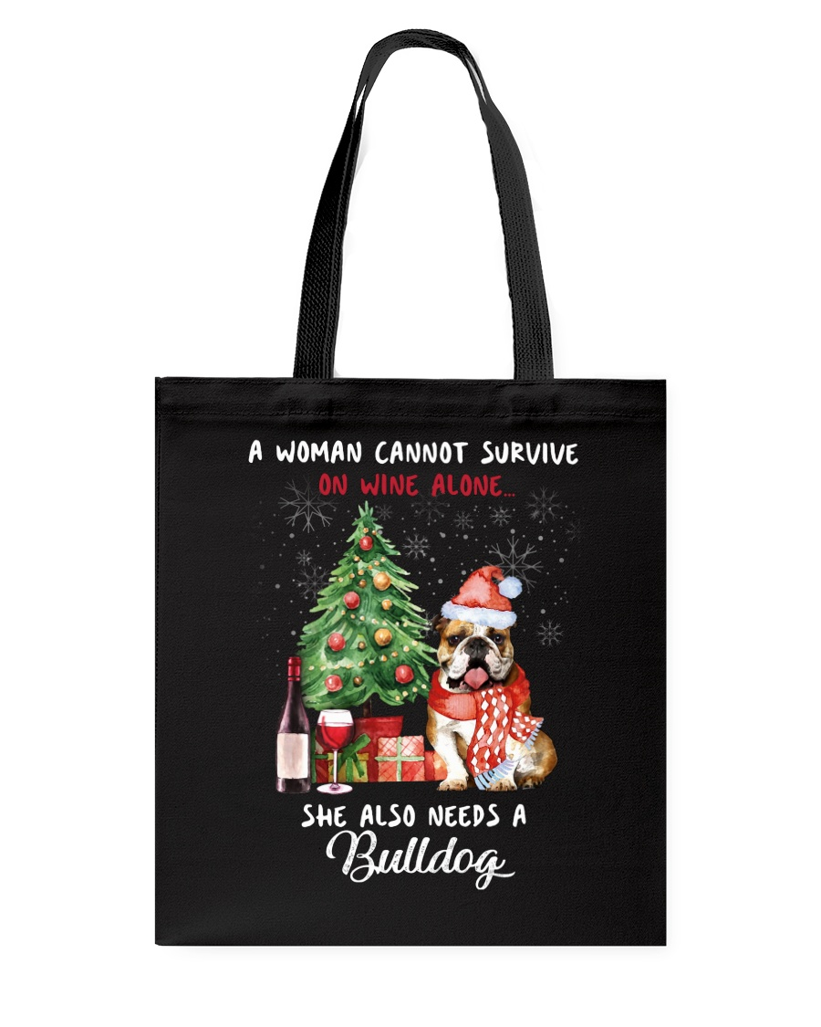 Christmas Wine and Bulldog Tote Bag