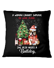 Christmas Wine and Bulldog Square Pillowcase thumbnail